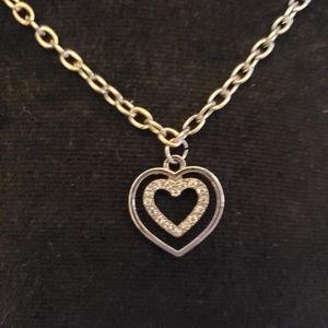 TRUE VINTAGE long silver cz double heart necklace